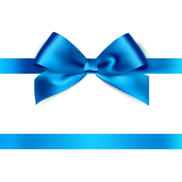 Shiny blue satin ribbon on white background vector art illustration