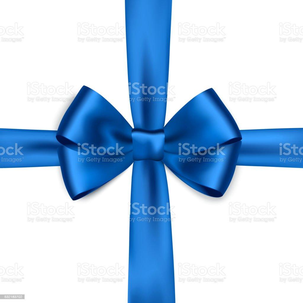Shiny blue satin ribbon on white background vector art illustration