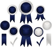 8 classic rich dark blue and silver seals, stickers, medals with  2 optional ribbons,  2 check marks. Mix and match.