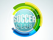 Shiny blue soccer ball on colorful hitech background.