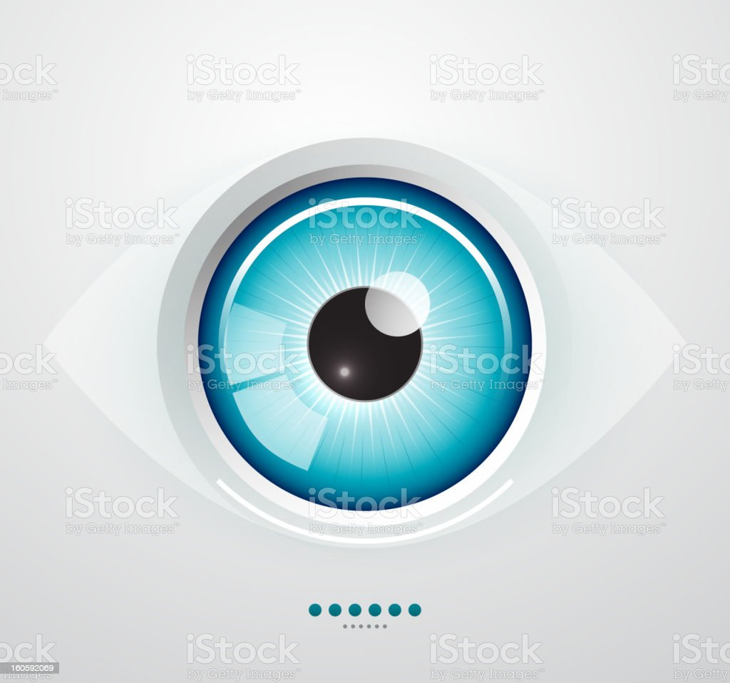 Shiny blue vector eye vector art illustration