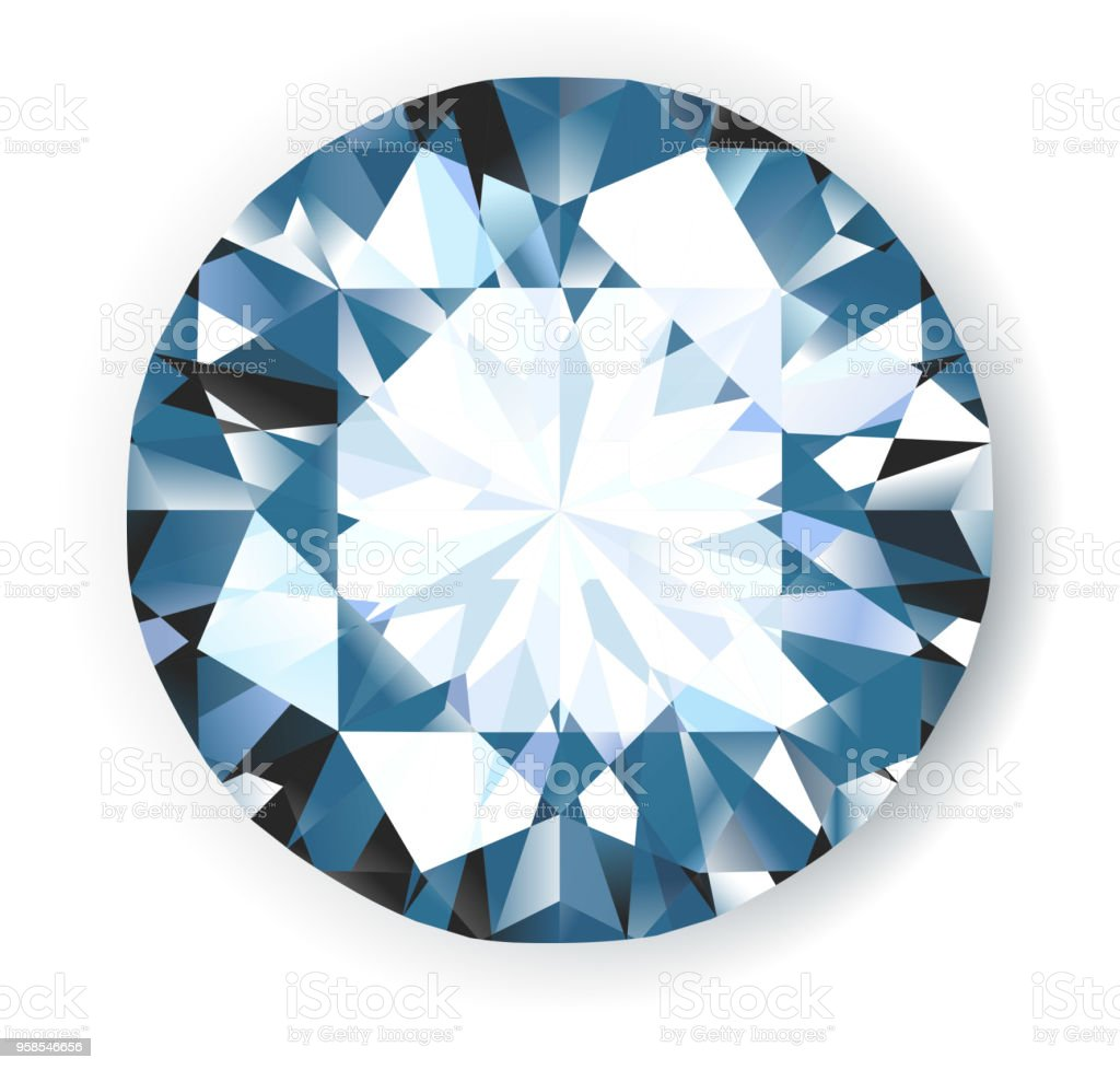 Shiny bright vector diamond on white background illustration. No transparencies. vector art illustration