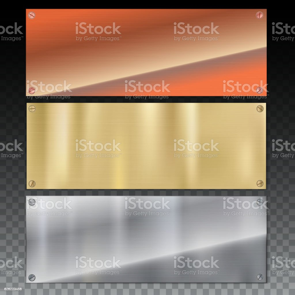 Shiny brushed metal plate banners on white background vector art illustration