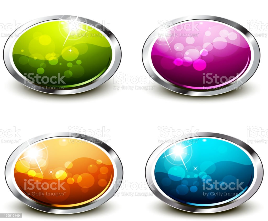 Shiny Buttons Set - Oblong royalty-free stock vector art