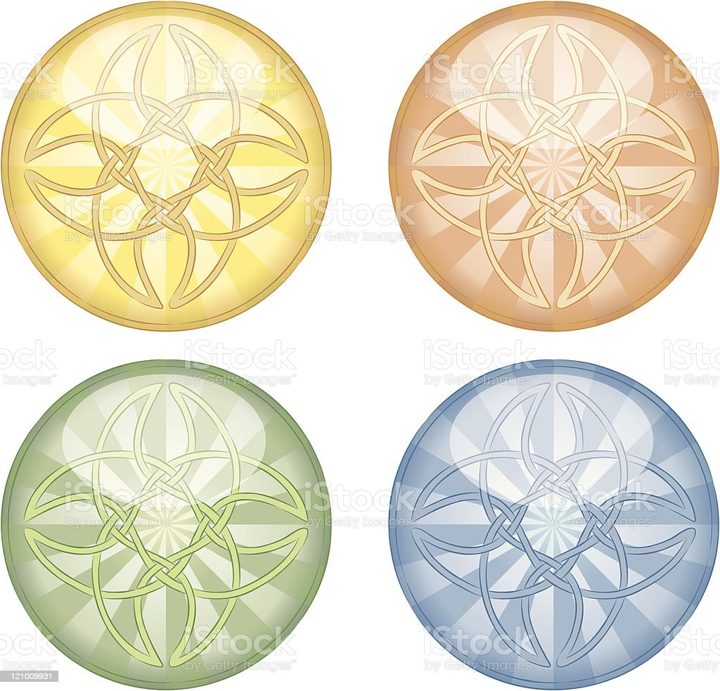 Shiny celtic buttons vector art illustration