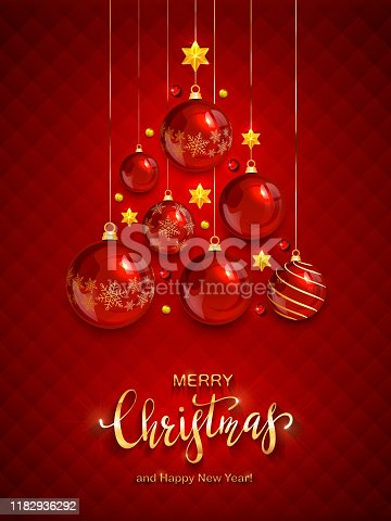 Christmas balls and shiny stars on red background. Illustration with golden lettering Merry Christmas can be used for holiday design, cards, invitations, posters, postcards and banners.