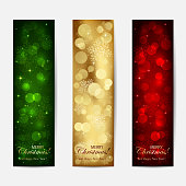 Set of shiny Christmas cards with blurry lights and stars, illustration.