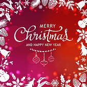 To celebrate Christmas with elements forming the frame on shiny red background