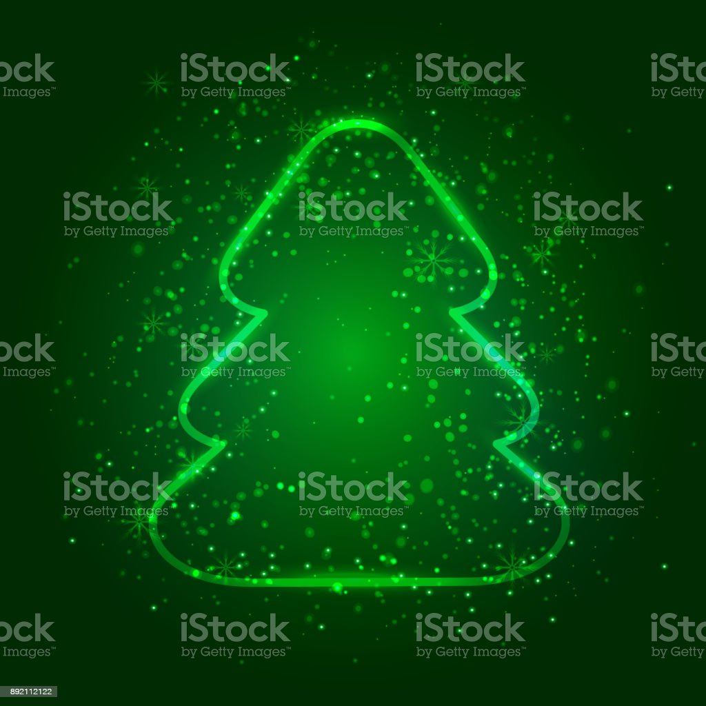 Shiny Christmas tree on dark green background with Flash Light. Vector illustration for Christmas and New Year greeting or invitation card, banners or flyer. vector art illustration
