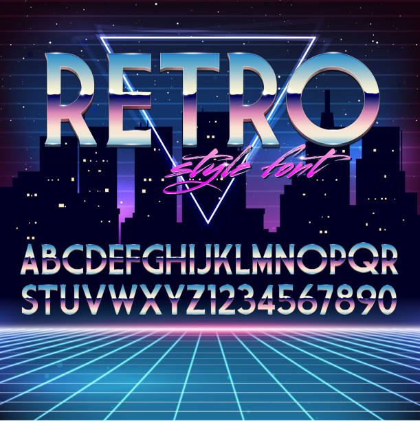 光沢クロムのアルファベット 80 年代のレトロなスタイルに未来派 - バブルのフォント点のイラスト素材/クリップアート素材/マンガ素材/アイコン素材
