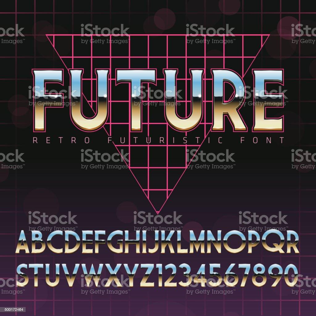 Shiny Chrome Alphabet in 80s Retro Futurism style Shiny Chrome Alphabet in 80s Retro Futurism style. Vector font on cityscape background 1980 stock vector