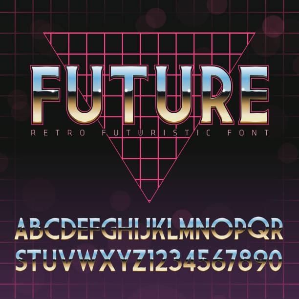stockillustraties, clipart, cartoons en iconen met shiny chrome alphabet in 80s retro futurism style - 2015