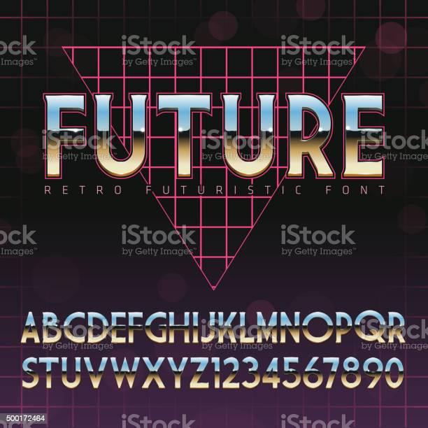 Shiny Chrome Alphabet In 80s Retro Futurism Style Stock Illustration - Download Image Now