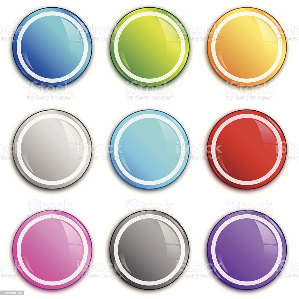 Shiny circle badge set vector art illustration