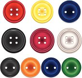 Set of shiny clothing buttons, sewing buttons in a variety of styles, colors, and 3 sizes. Red, yellow, blue, black, magenta, pearl, orange, green.