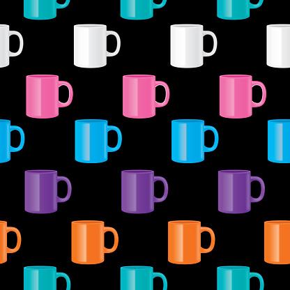 Shiny Coffee Mugs Seamless Pattern