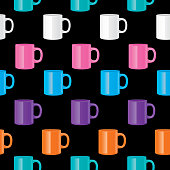 Vector S=seamless pattern of shiny coffee mugs on a black background.