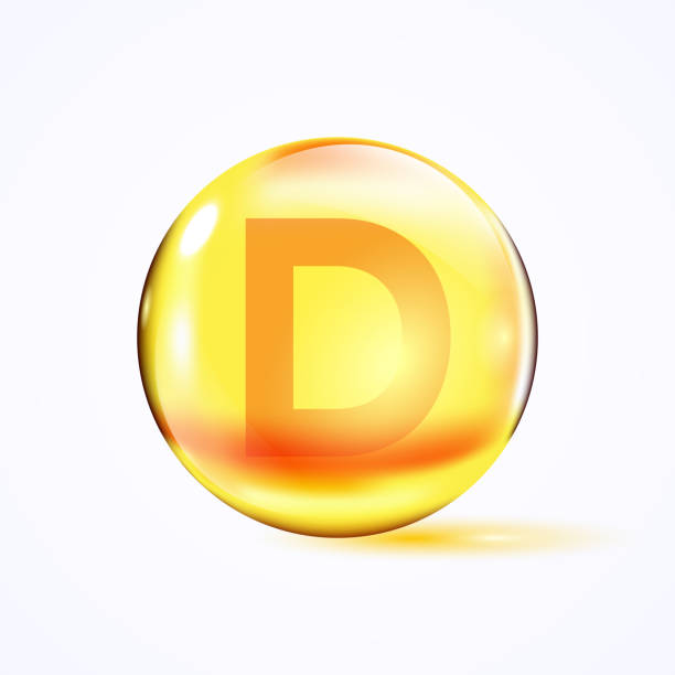 mektup d, e vitamini, sarı kapsül ile parlak renkli kase. - vitamin d stock illustrations