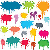 Vector illustration of 21 separately grouped colorful splats. Each splat has a different vibrant color in a shade of blue, green, orange, red, grey, pink or purple. The splats have darker or lighter areas that imply greater thickness of material, and white highlights that indicate light reflection, making them appear to be shiny.