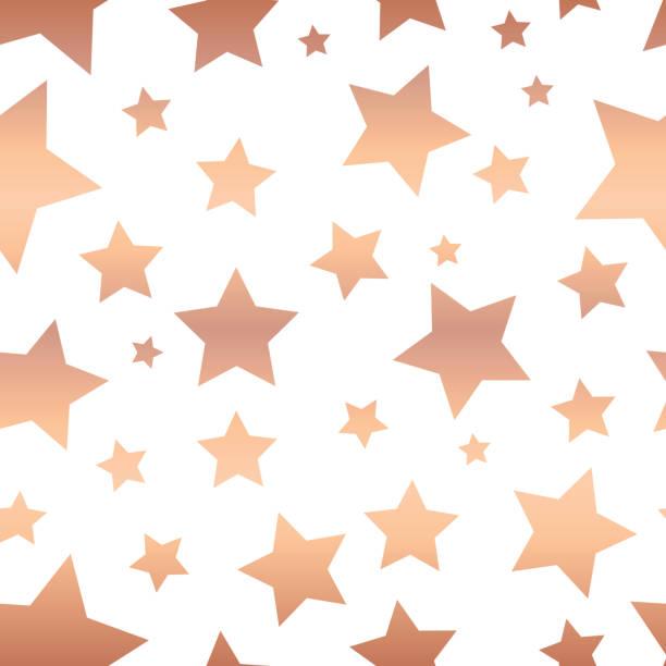 Shiny copper foil stars seamless vector pattern vector art illustration