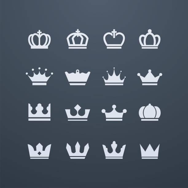 Shiny crown icons vector art illustration