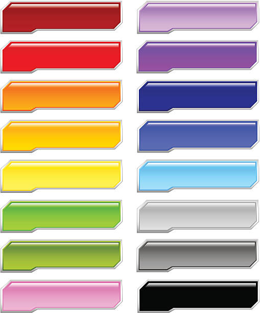 Shiny Cut Corners Menu Buttons vector art illustration