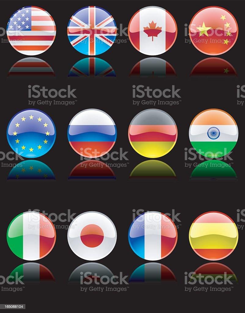 Shiny Flags on Black royalty-free stock vector art