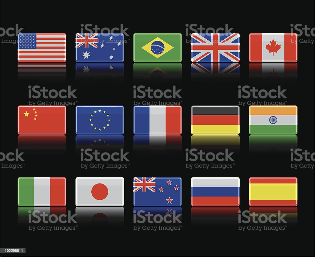 Shiny Flags on Black royalty-free stock vector art
