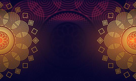 Shiny floral mandala blurred background stock illustration