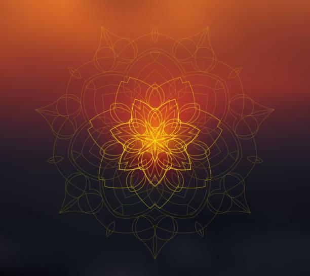 Mandala floral brillante sobre fondo borroso al atardecer - ilustración de arte vectorial