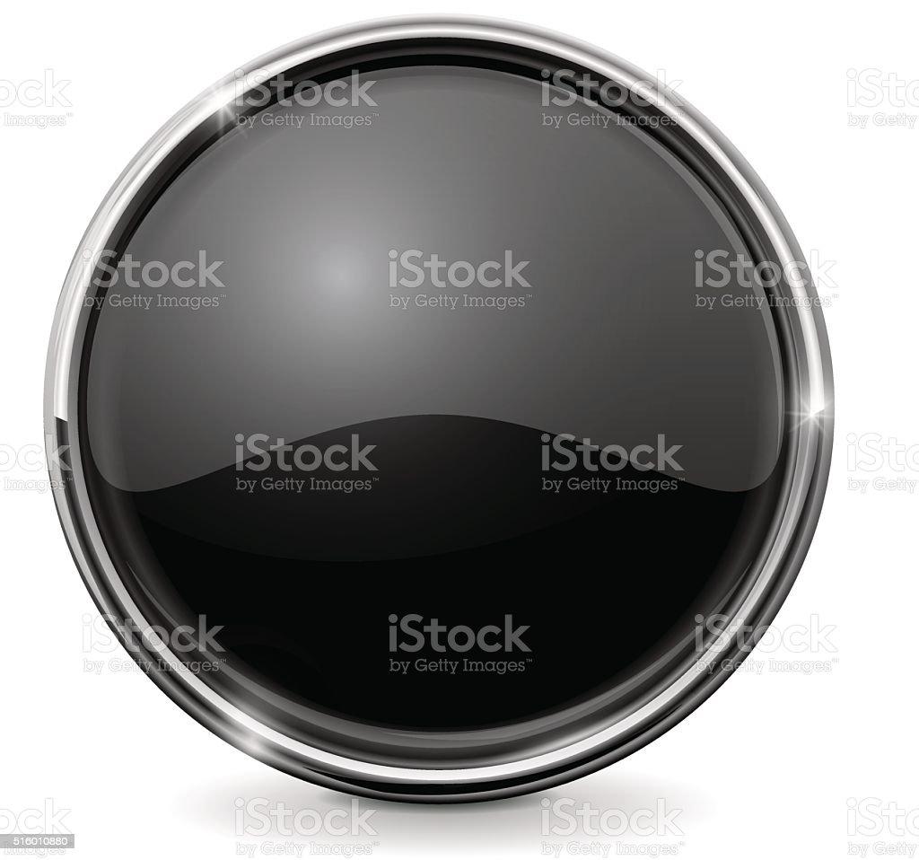 Botón Brillante De Vidrio Marco De Cromo Círculo Botón Negro ...