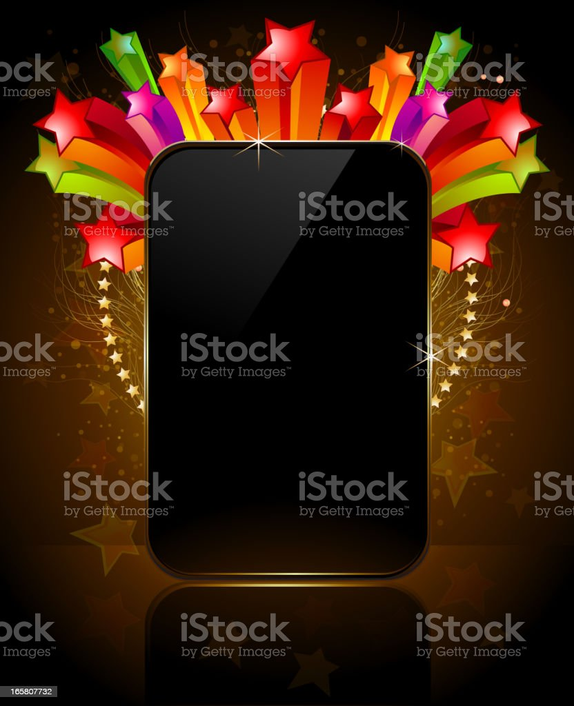 Shiny Glossy Frame with Colorful Stars royalty-free stock vector art