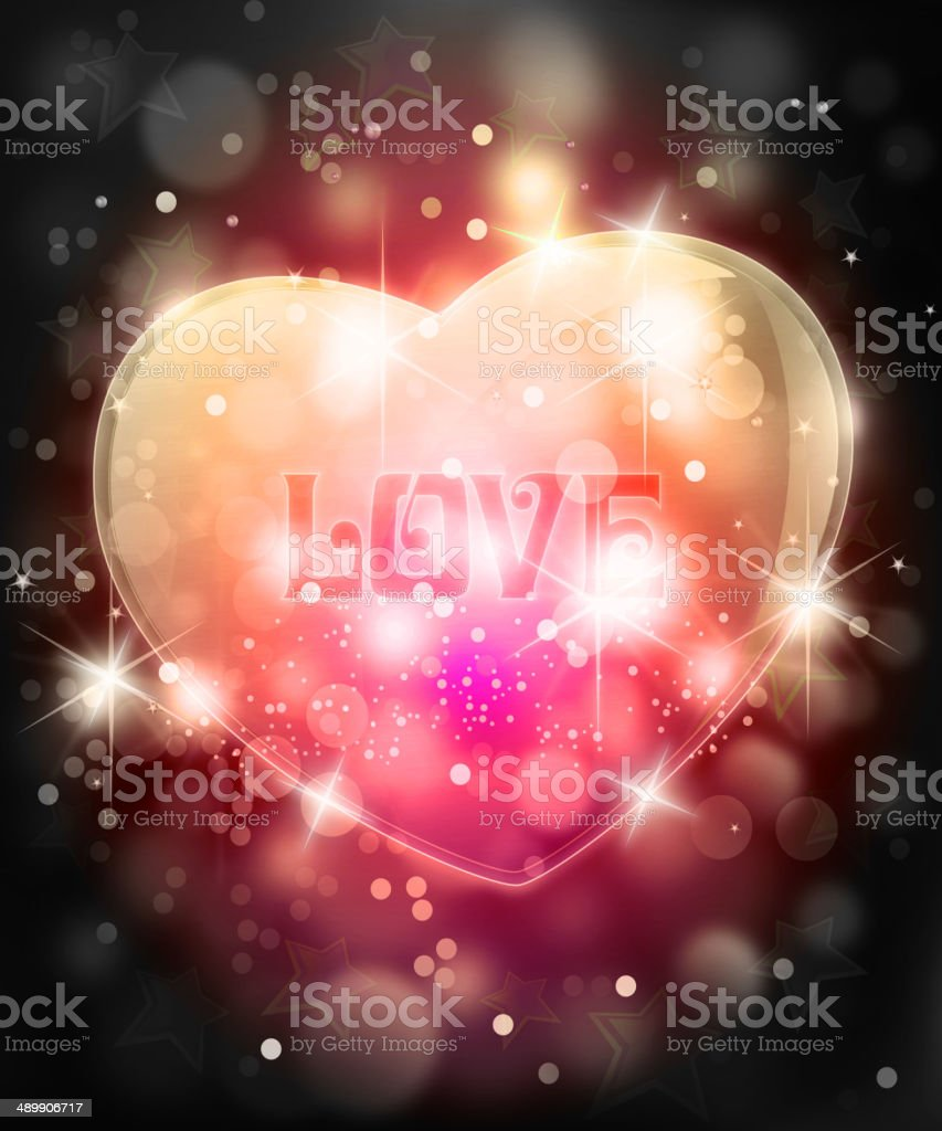 Shiny Glossy Heart Shape with Defocused Background royalty-free stock vector art