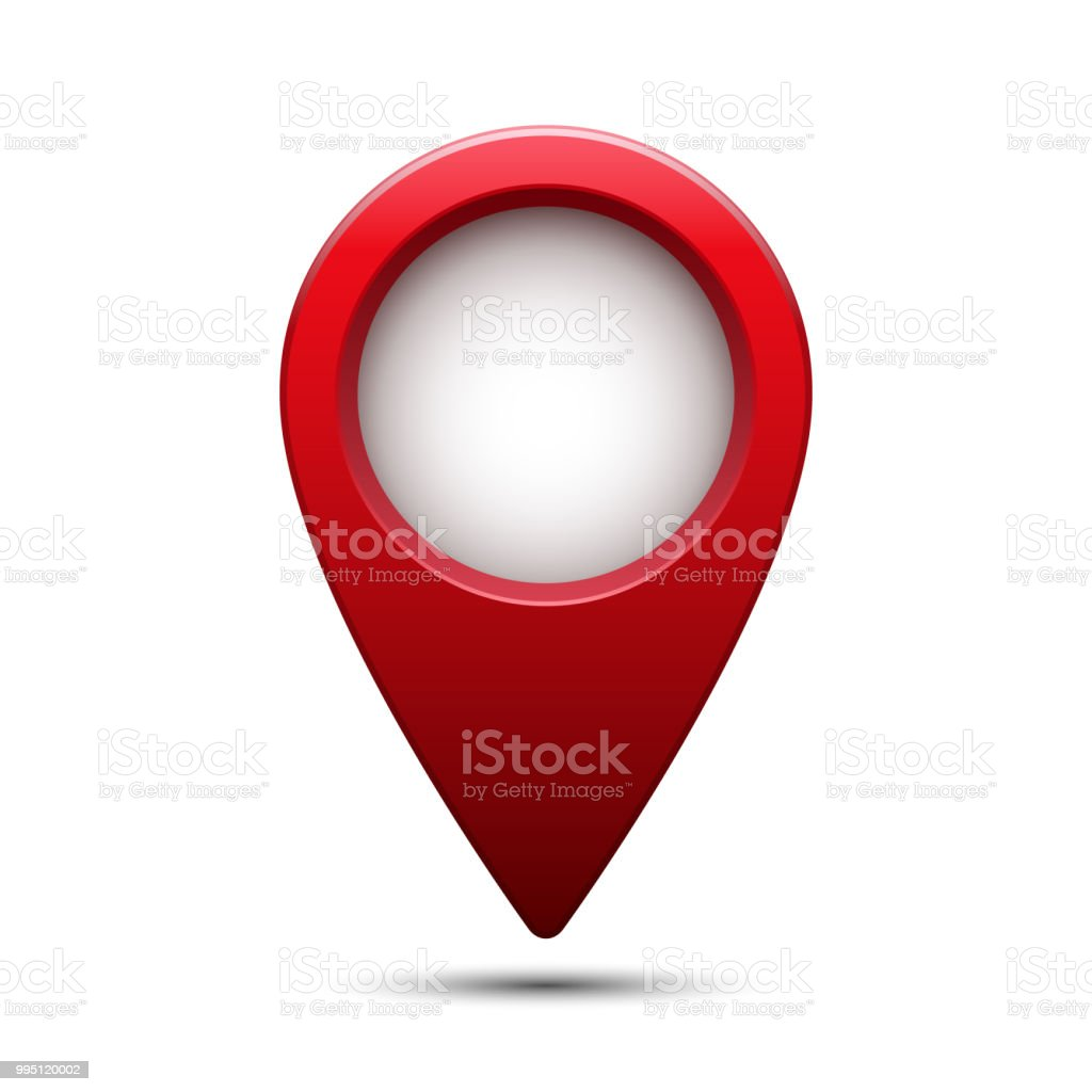 Shiny glossy red map pointer. Vector illustration.