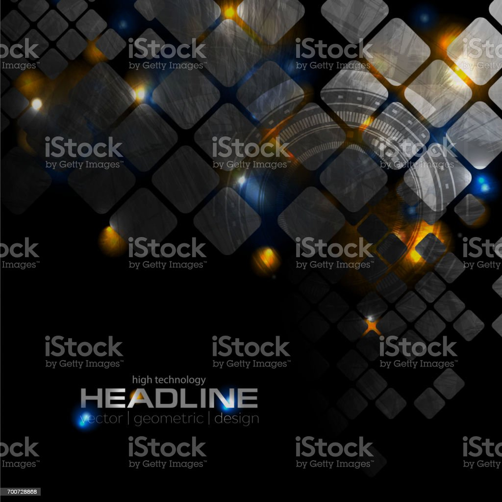 Shiny glowing technology background with squares vector art illustration