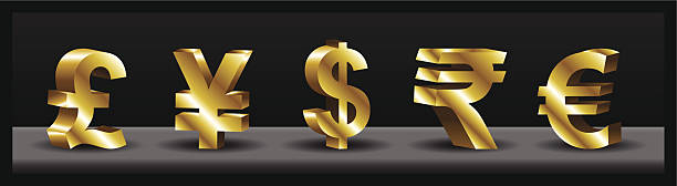 Shiny Gold 3D currency symbols Shiny Gold 3D currency symbols including the Pound, Yen, Dollar, Rupee & Euro.  japanese currency stock illustrations