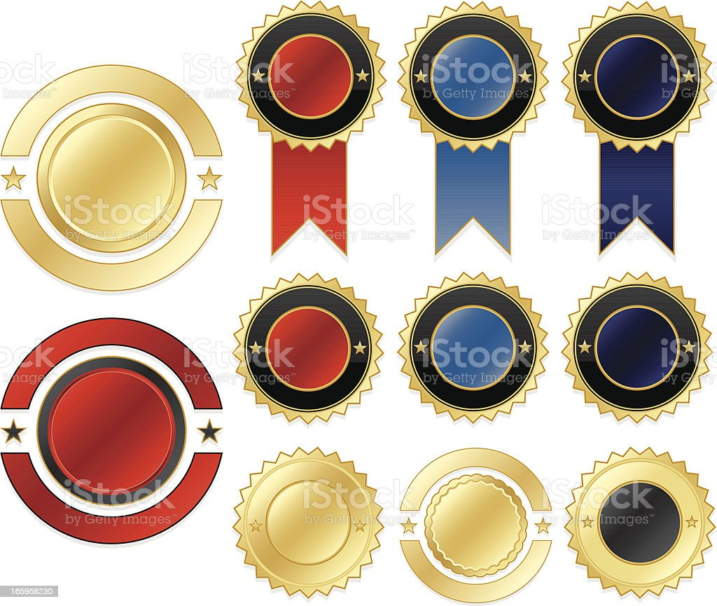 Shiny Gold, Blue, Red, Purple, Black Stickers, Ribbons Set royalty-free stock vector art