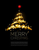 Shiny Gold Christmas tree  in black poster . Vector illustration.