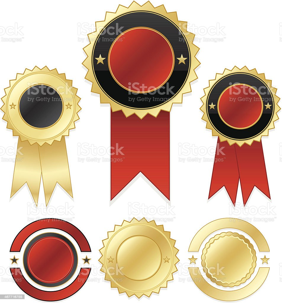 Shiny Gold, Red, Black Seals and Stickers Set royalty-free stock vector art