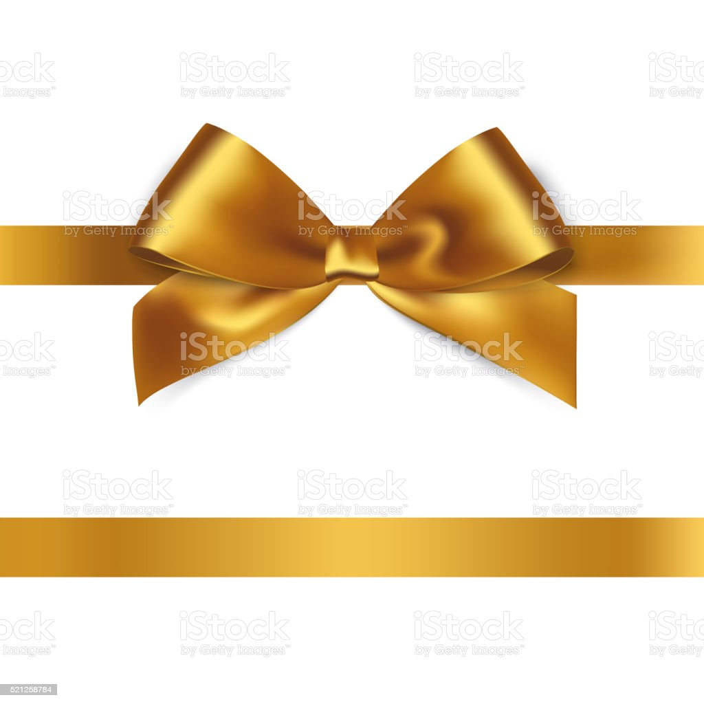 Shiny gold satin ribbon on white background vector art illustration