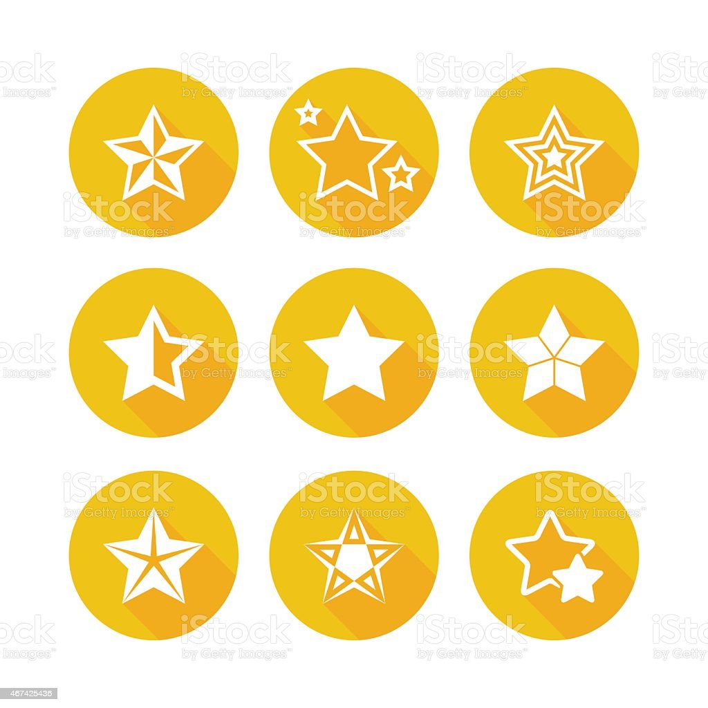 Shiny Gold Star Icons vector art illustration