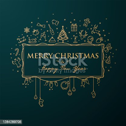 Golden Christmas banner with line art Christmas icons on an emerald background