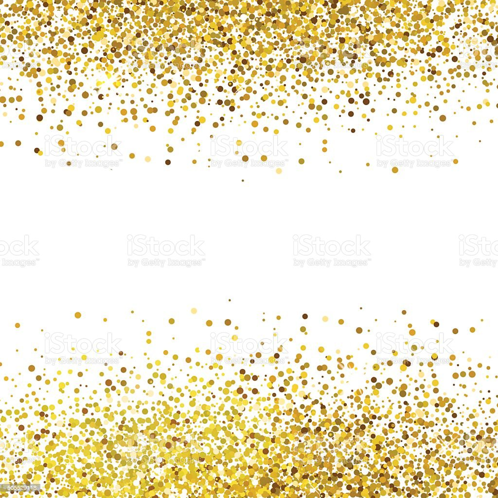 Shiny golden glitter on white background vector art illustration