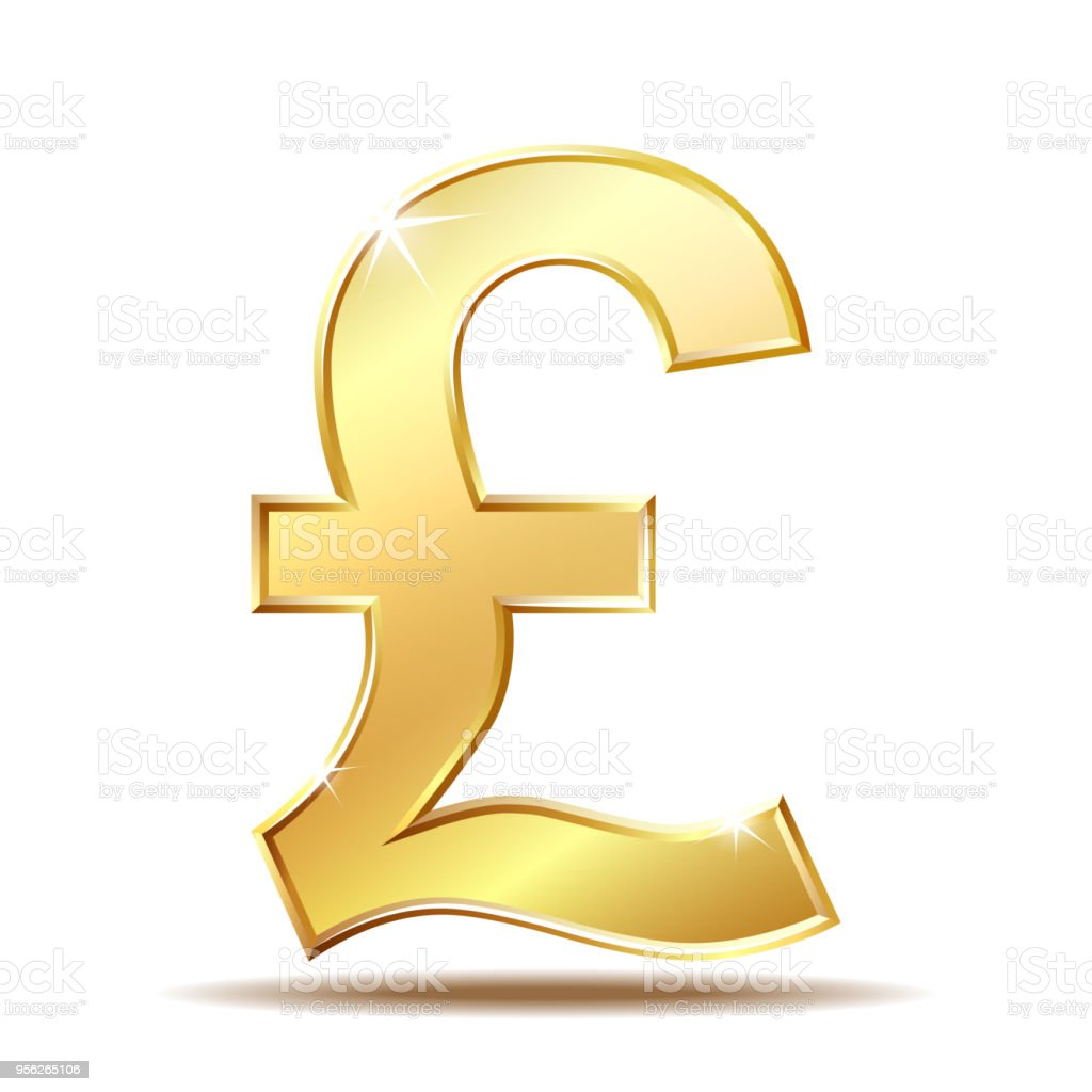 Shiny Golden Pound Currency Symbol Stock Vector Art More Images Of