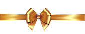 Shiny golden satin ribbon . Vector isolate gold bow for design greeting and discount card