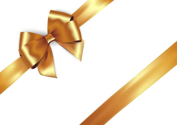 ilustrações de stock, clip art, desenhos animados e ícones de shiny golden satin ribbon on white background. - laço nó