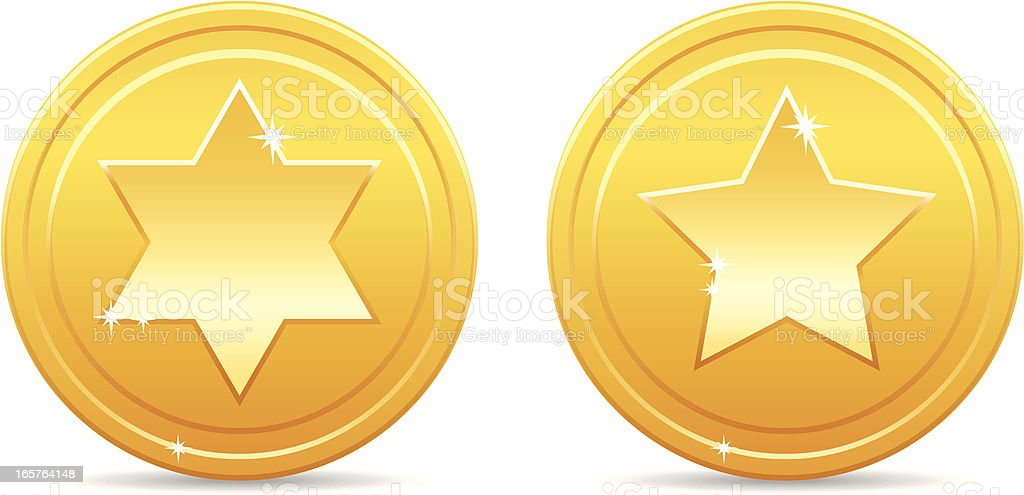 Shiny golden star coins royalty-free stock vector art