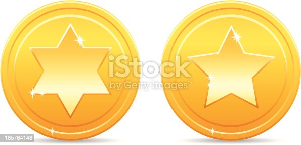 Shiny golden star coins, six pointed and five pointed star.
