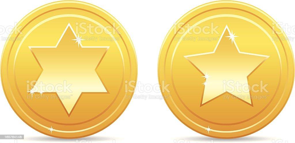 Shiny golden star coins vector art illustration