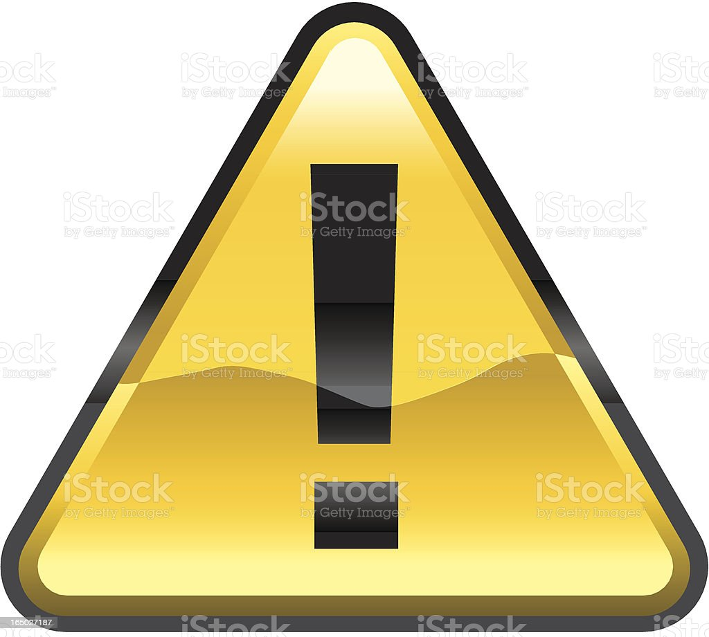 Shiny golden warning sign with exclamation mark royalty-free stock vector art
